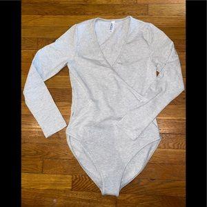 American Apparel cotton cross v bodysuit